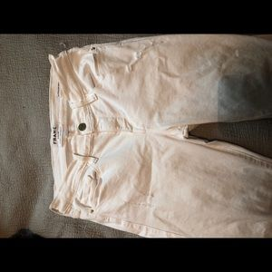 Frame distressed white jeans